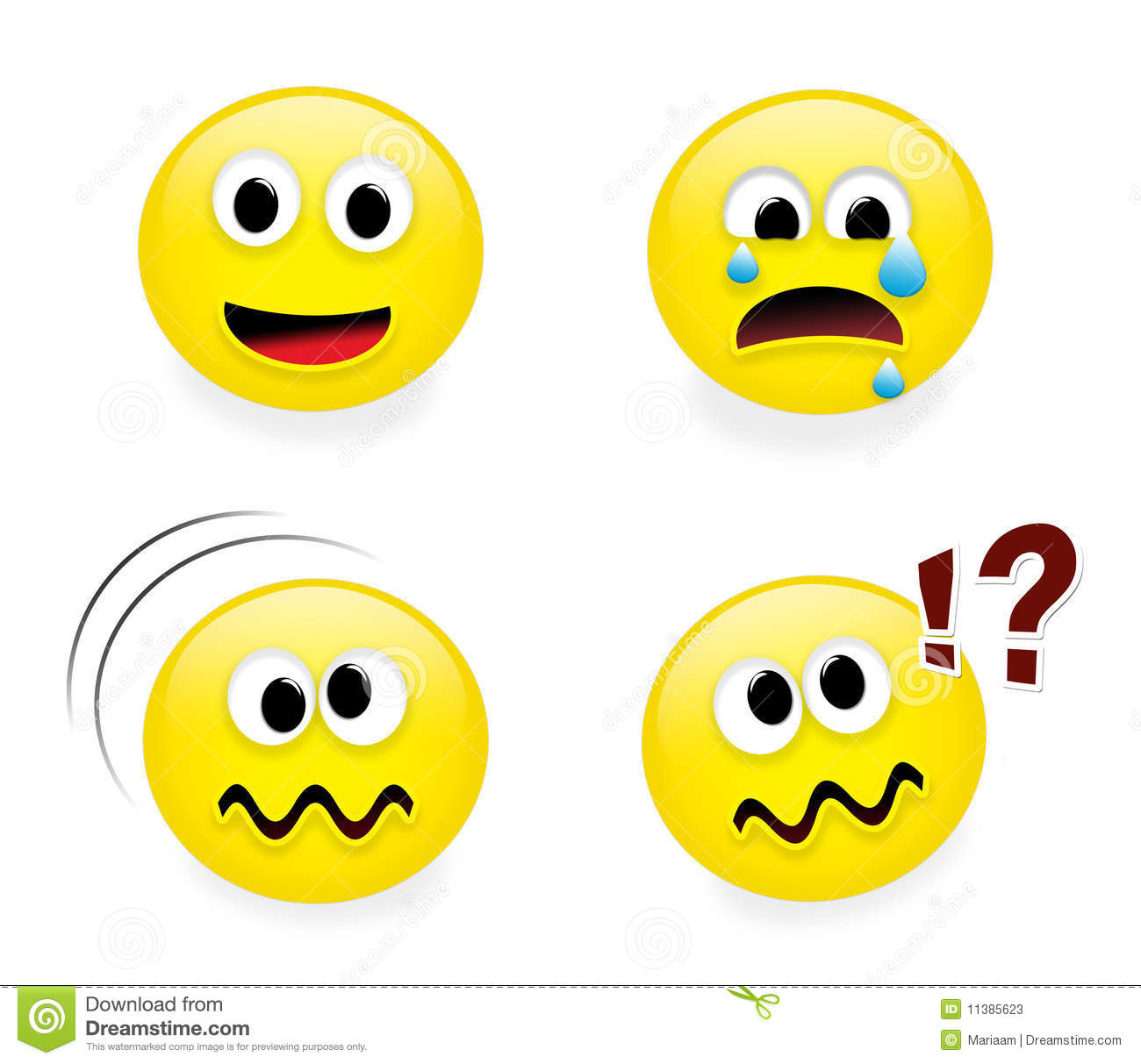 Set of funny emoticons on white background, part 2.