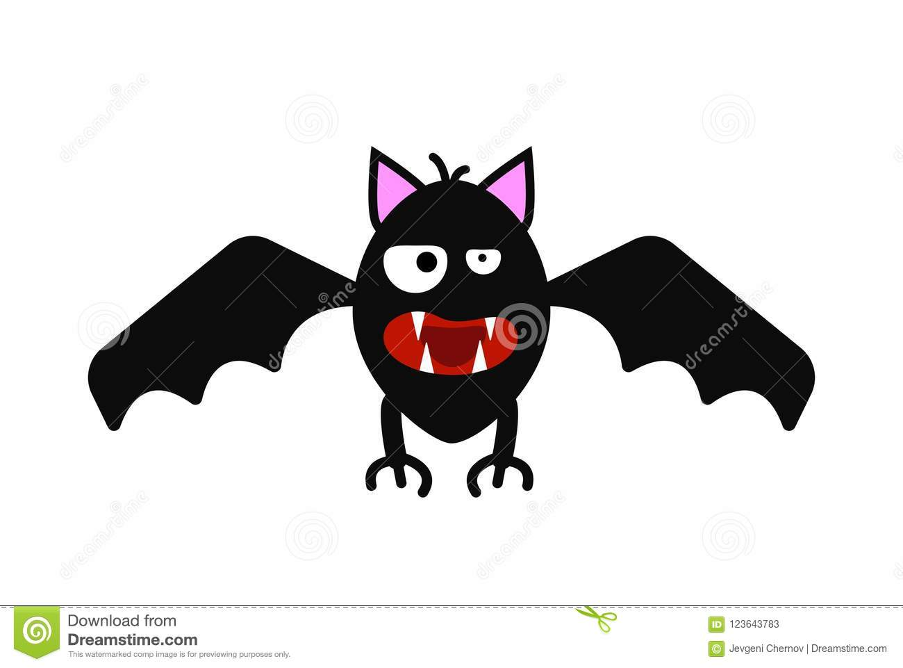 funny evil bat isolated on white vector stock vector - illustration