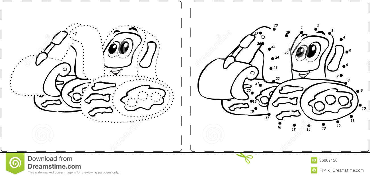 Funny Excavator Drawing With Dots And Digits Stock Vector