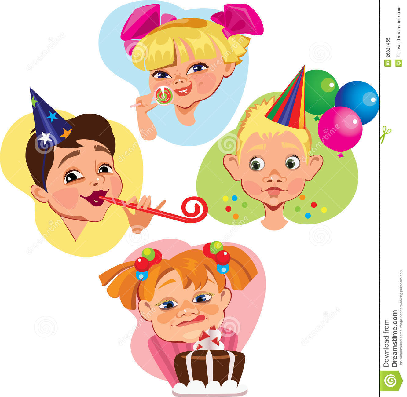 Funny Face Characters Of Kids On Subject Birthday Royalty