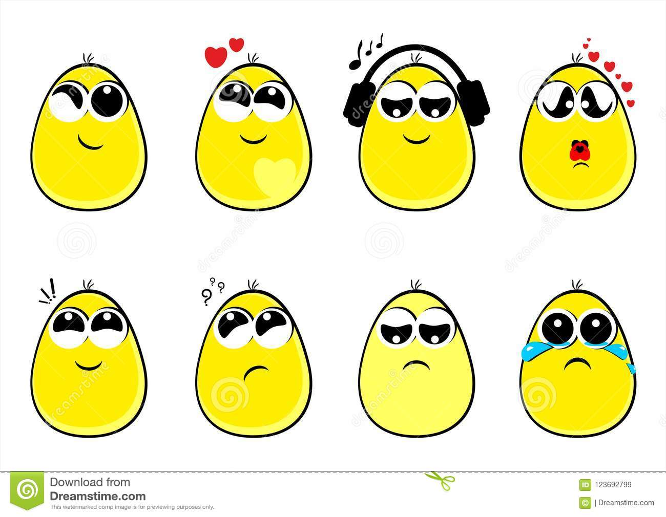 Funny Eggs Faces, New, Emotion, Smiles, Emoticons, Vector