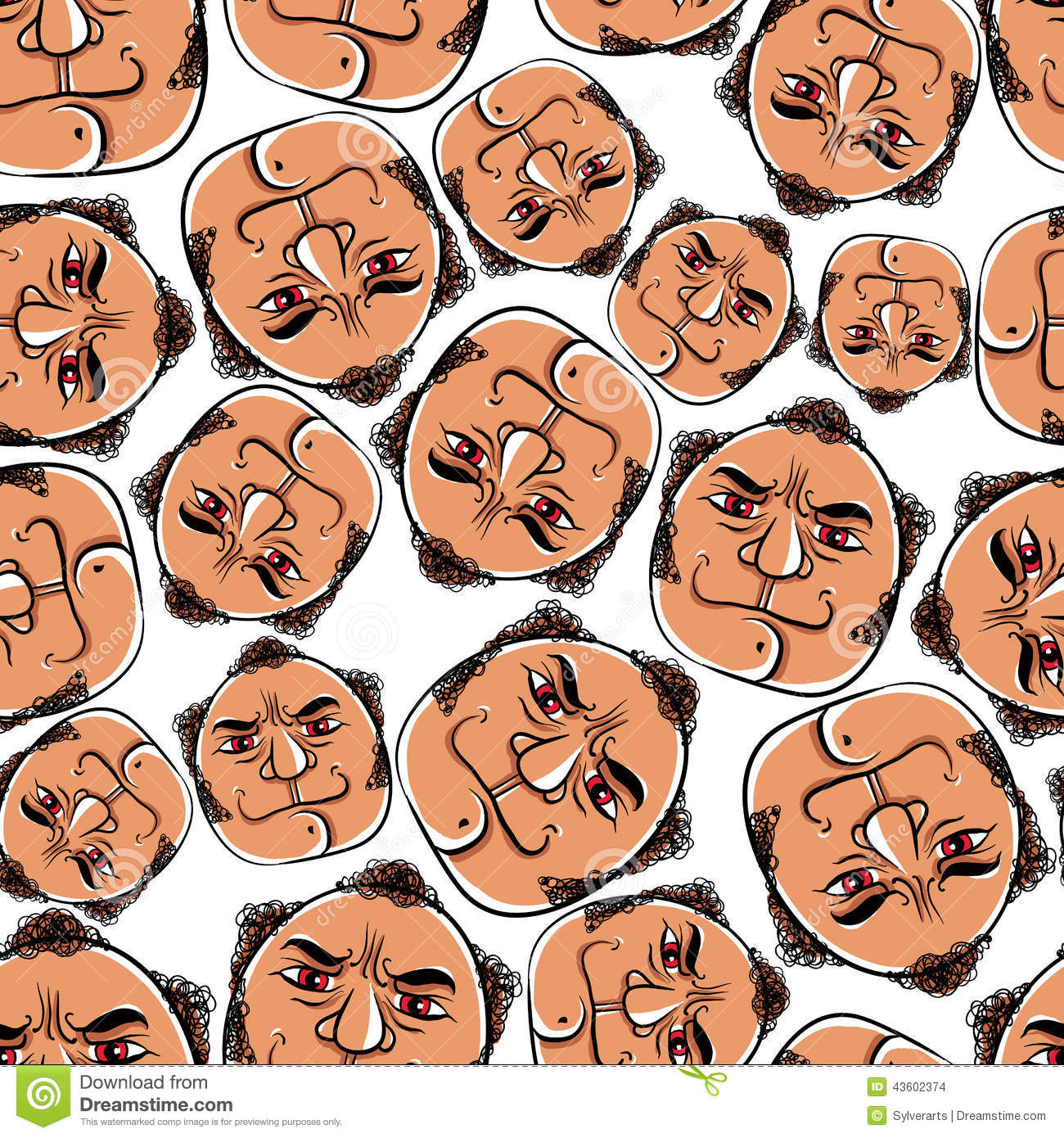 Funny Faces Seamless Background, Vector Cartoon Style