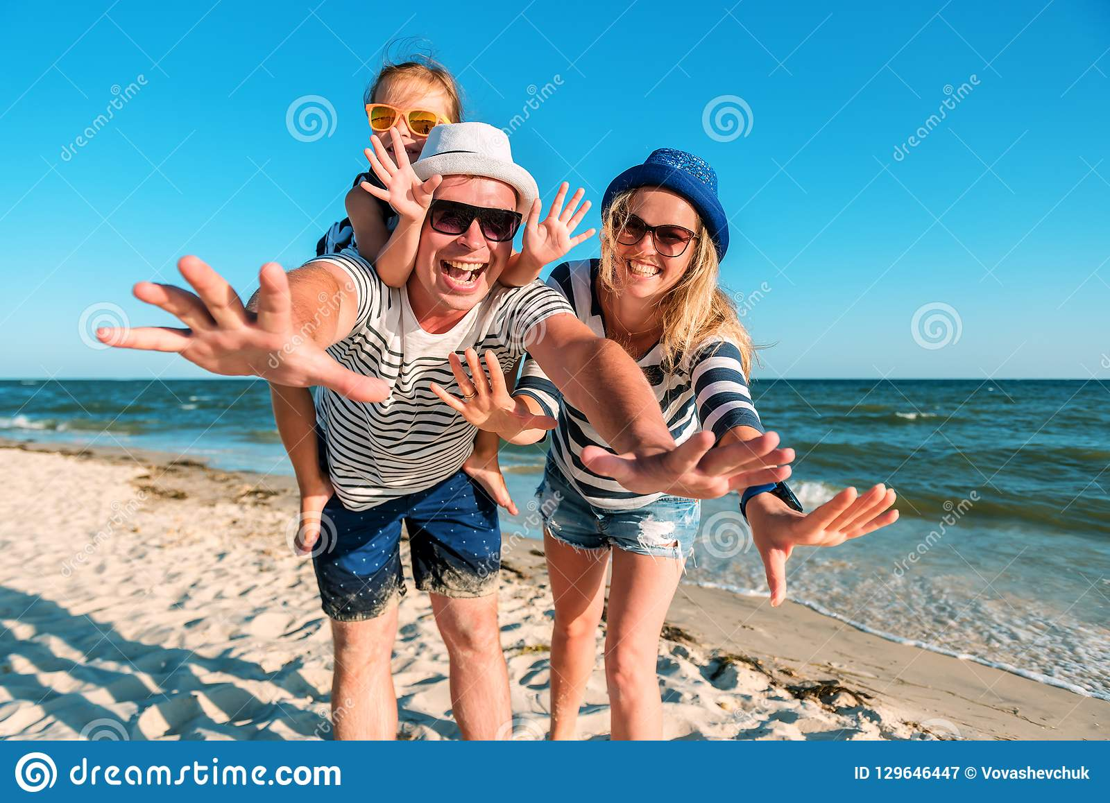 Funny Family On The Beach Stock Image Image Of Caucasian 129646447