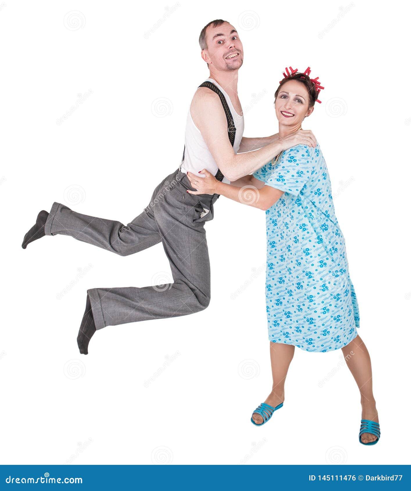 Funny family couple having fun isolated