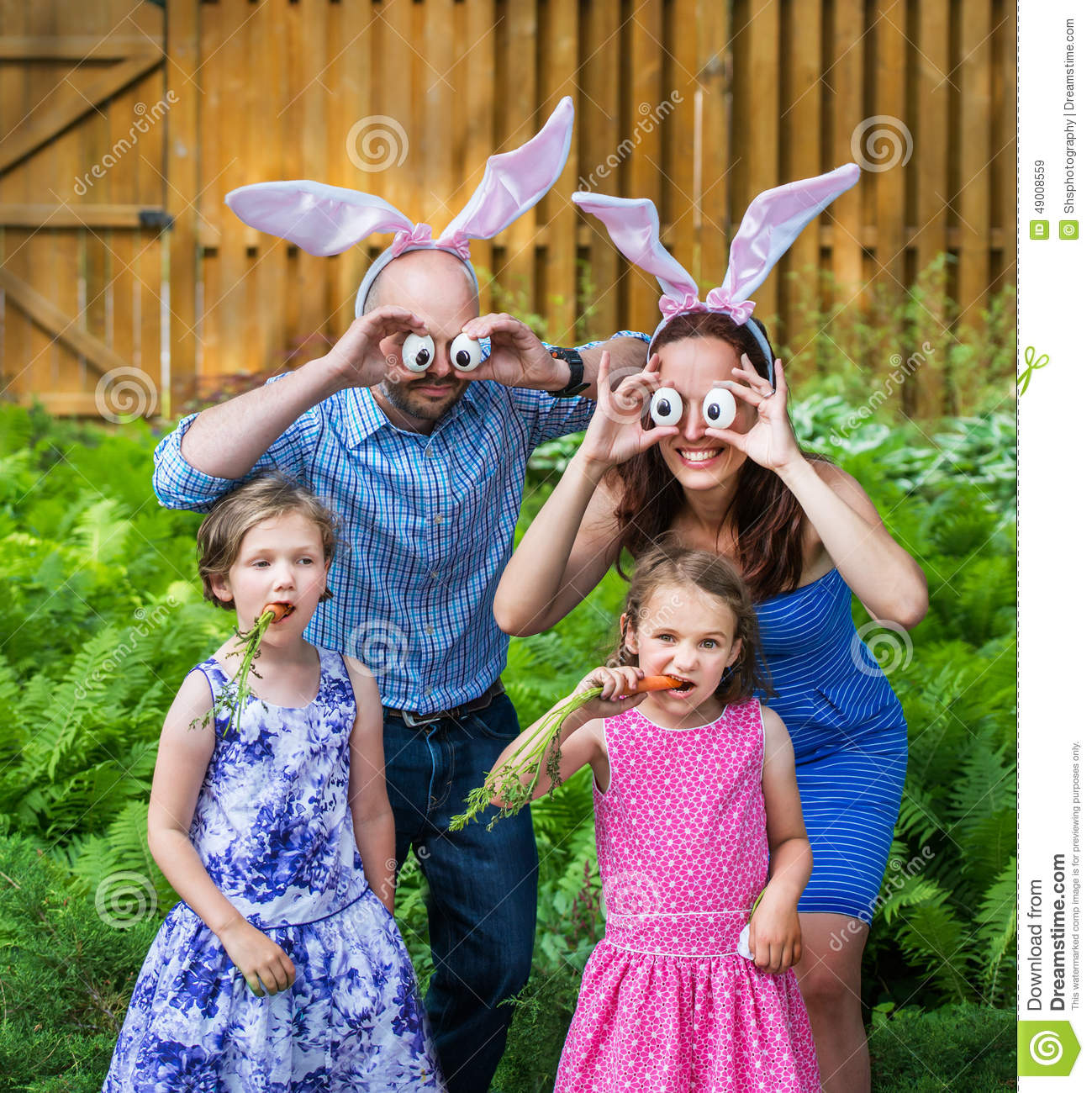 funny family easter portrait stock image image of outside female