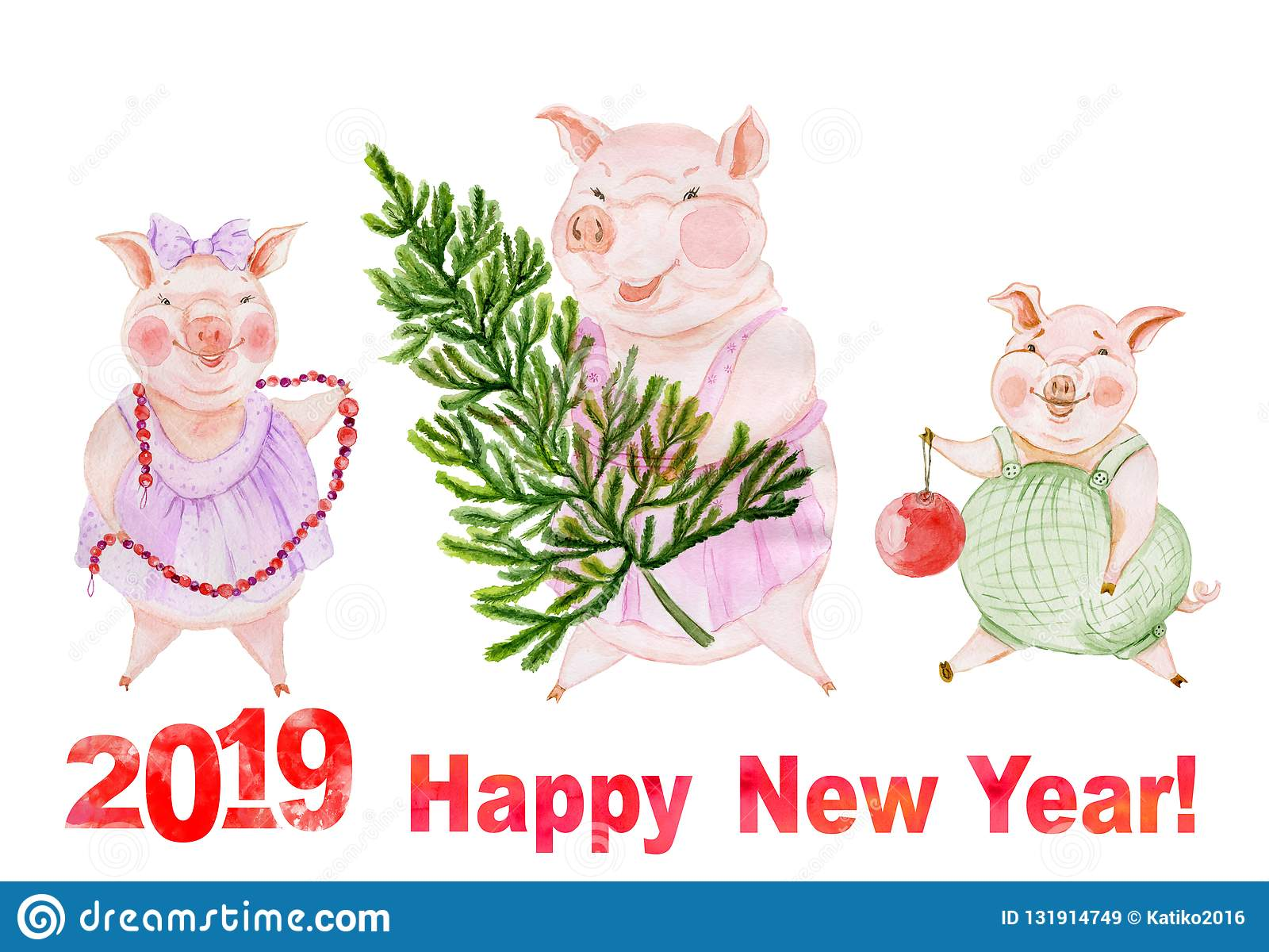 funny family of pigs are going to decorate christmas tree greeting card with happy new