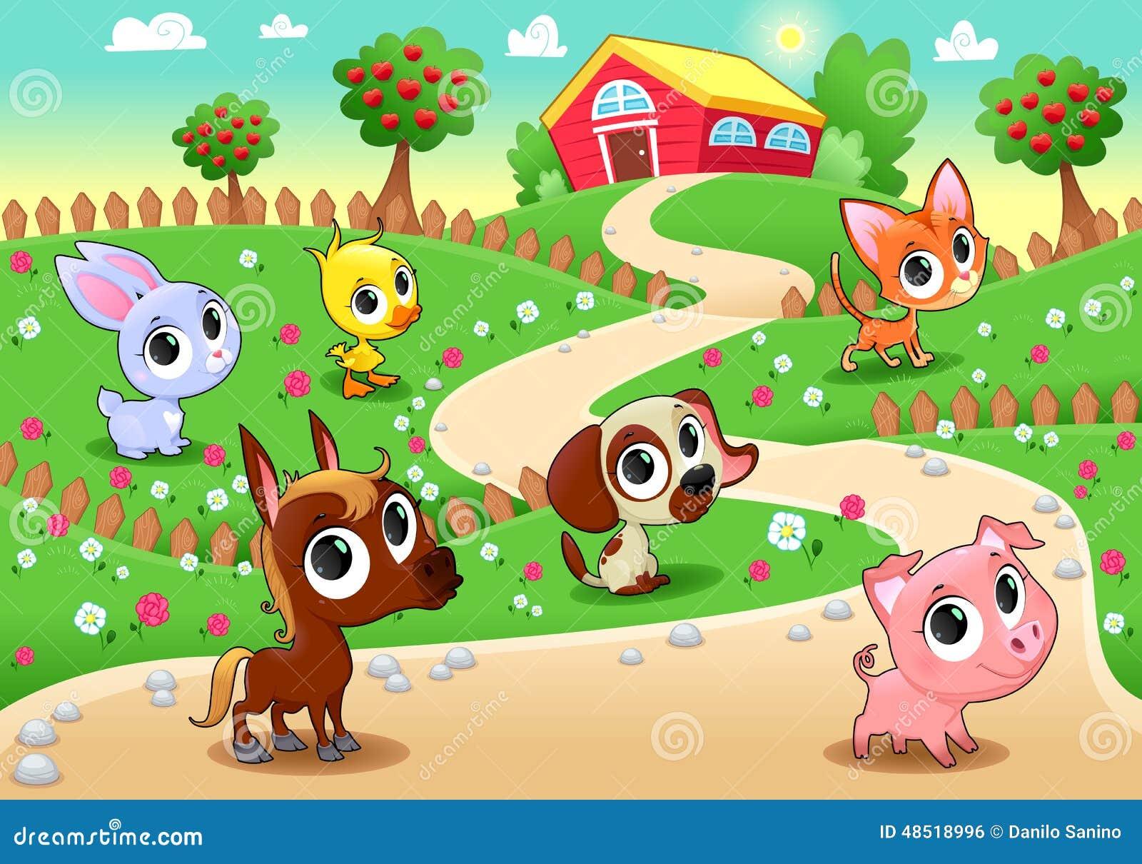 Funny Farm Animals In The Garden Stock Vector ...