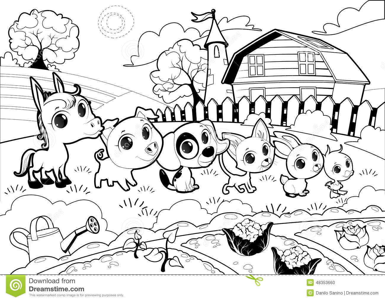 Funny Farm Animals In The Garden Stock Vector - Illustration of ... for Farmhouse Cartoon Black And White  584dqh