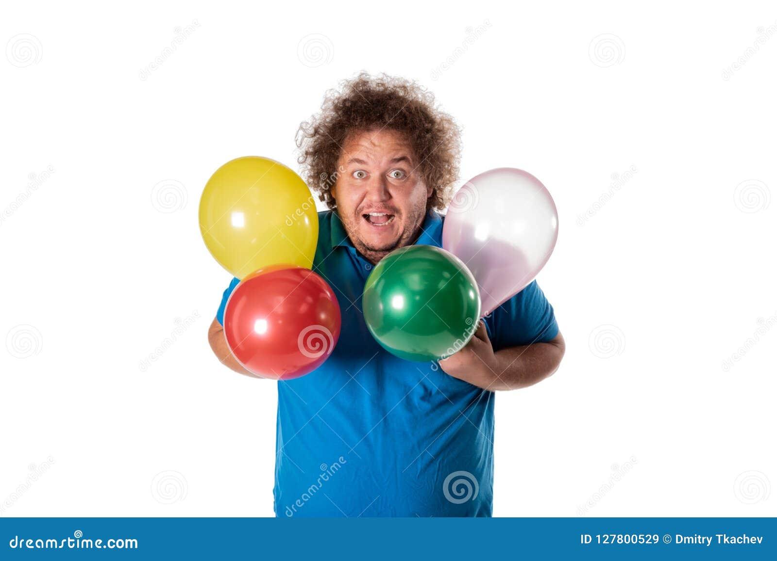 Funny fat man with balloons. Happy birthday