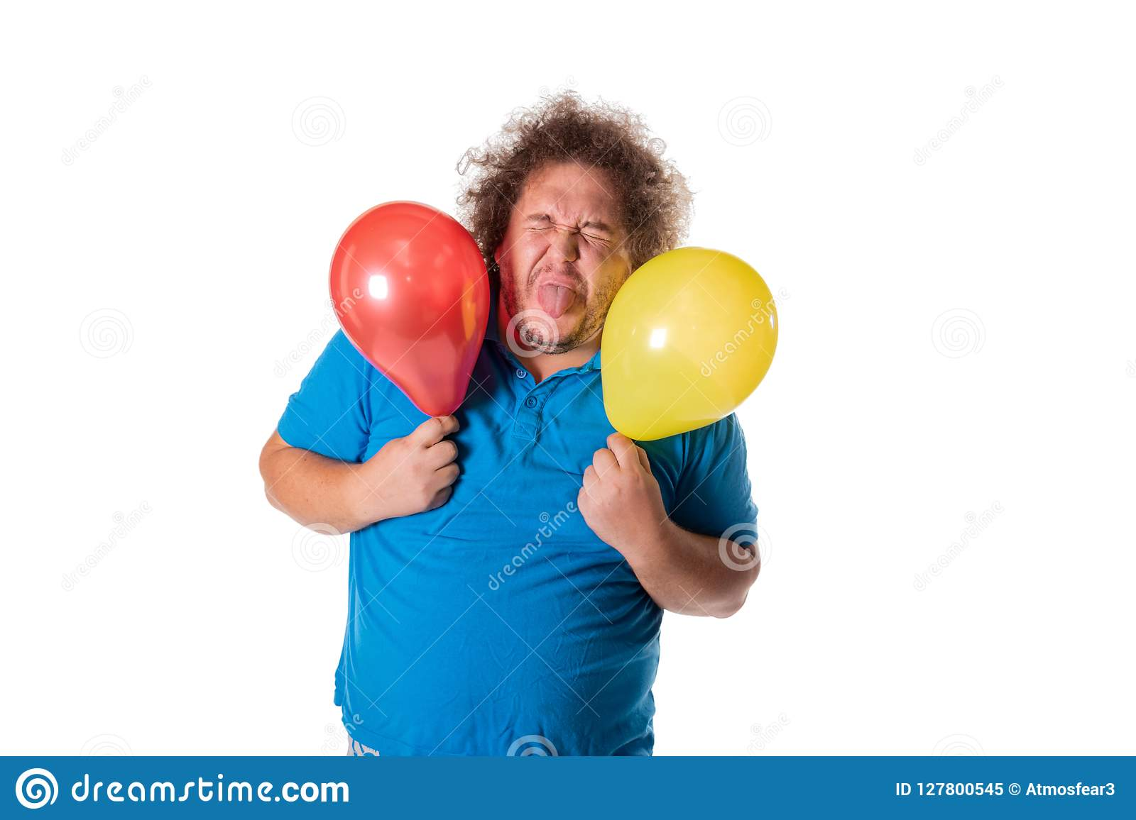 Funny Fat Man With Balloons Happy Birthday