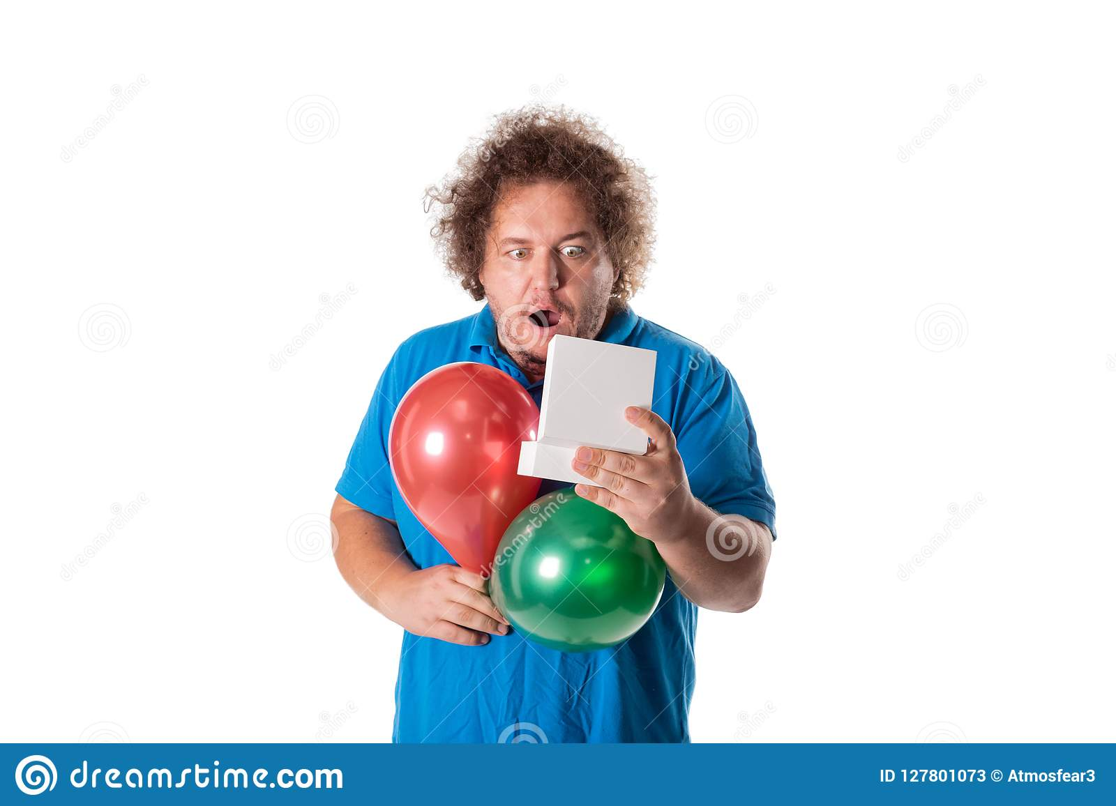 Funny fat man with gift and balloons. Happy birthday