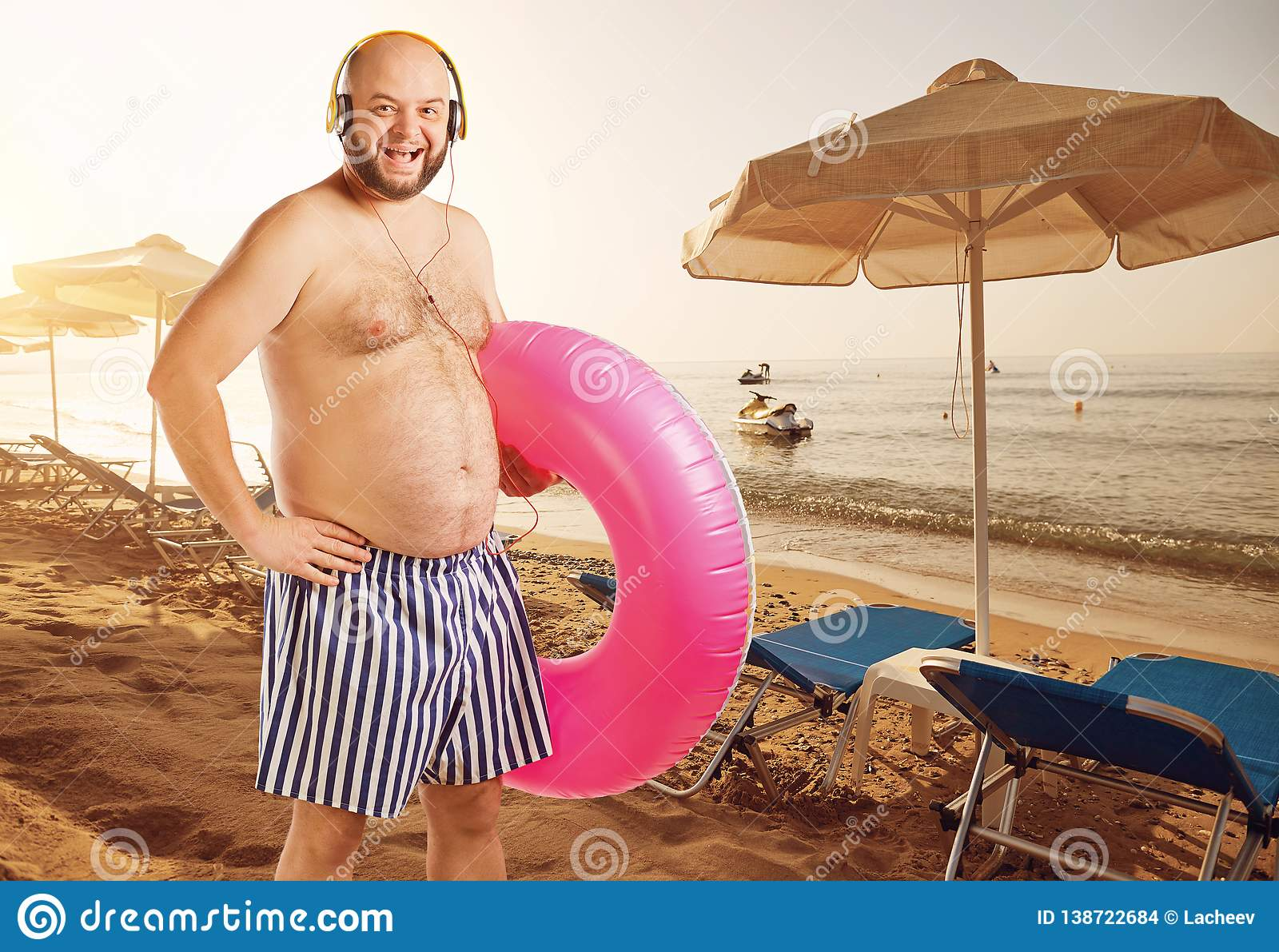 Funny Fat Man On Vacation On A Summer Beach Stock Photo Image Of Shape Stomach 138722684