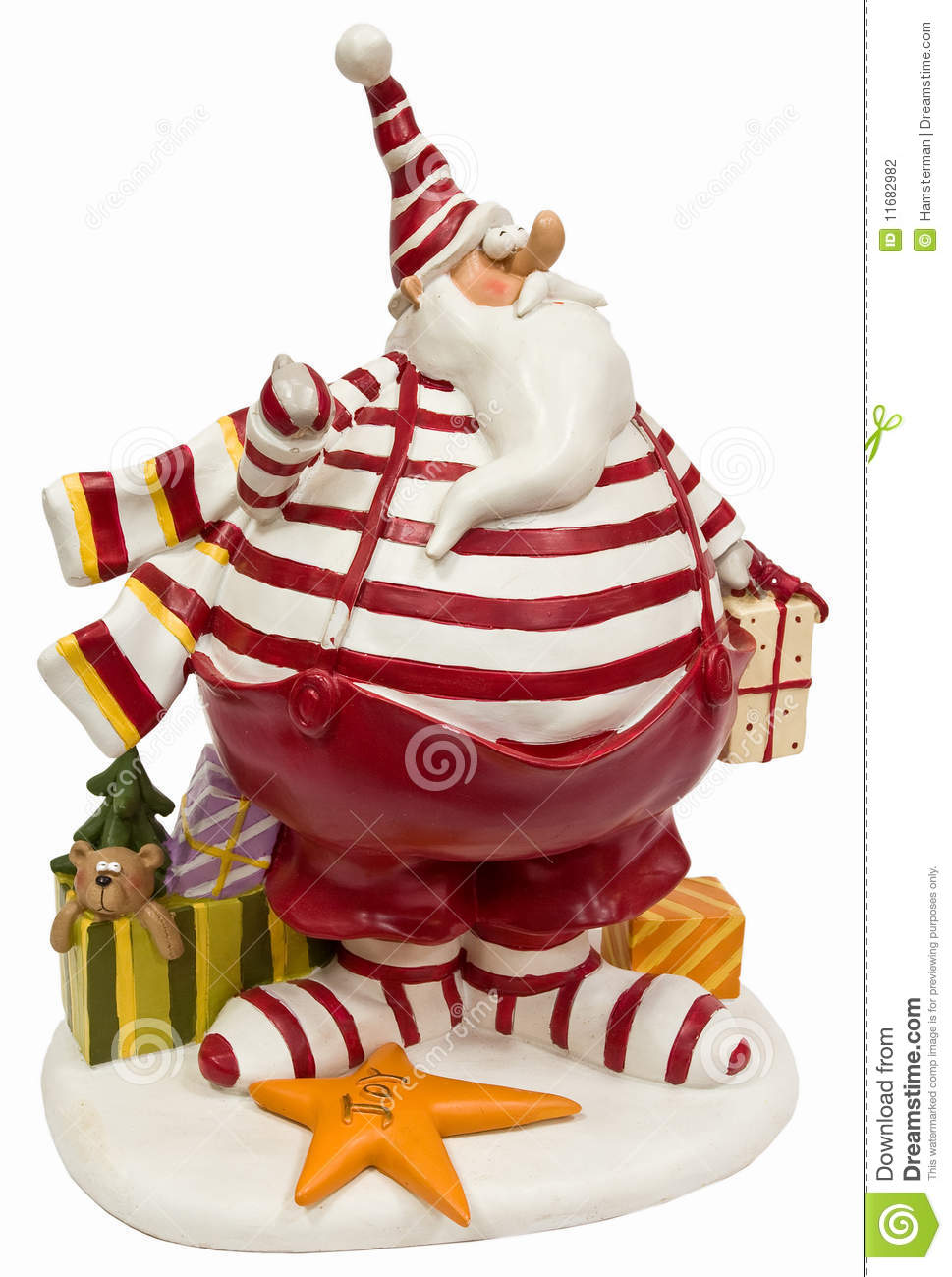 Funny fat Santa Claus in red striped pullover