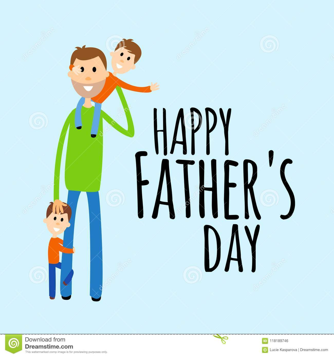 Funny Fathers Day Greeting Card Vector Stock Vector Illustration