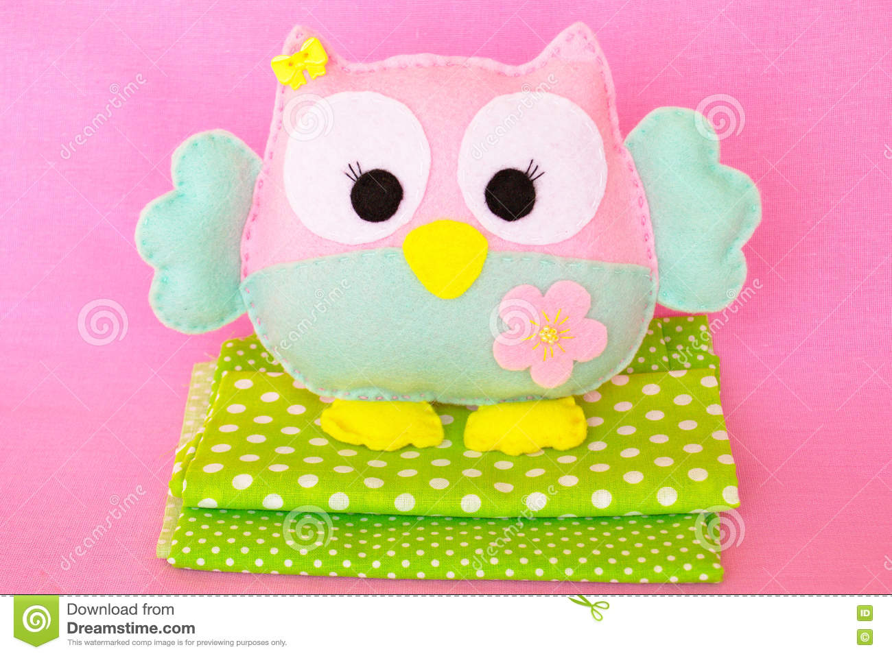 Funny Felt Owl Toy Easy Felt Sewing Crafts For Kids Stock Image