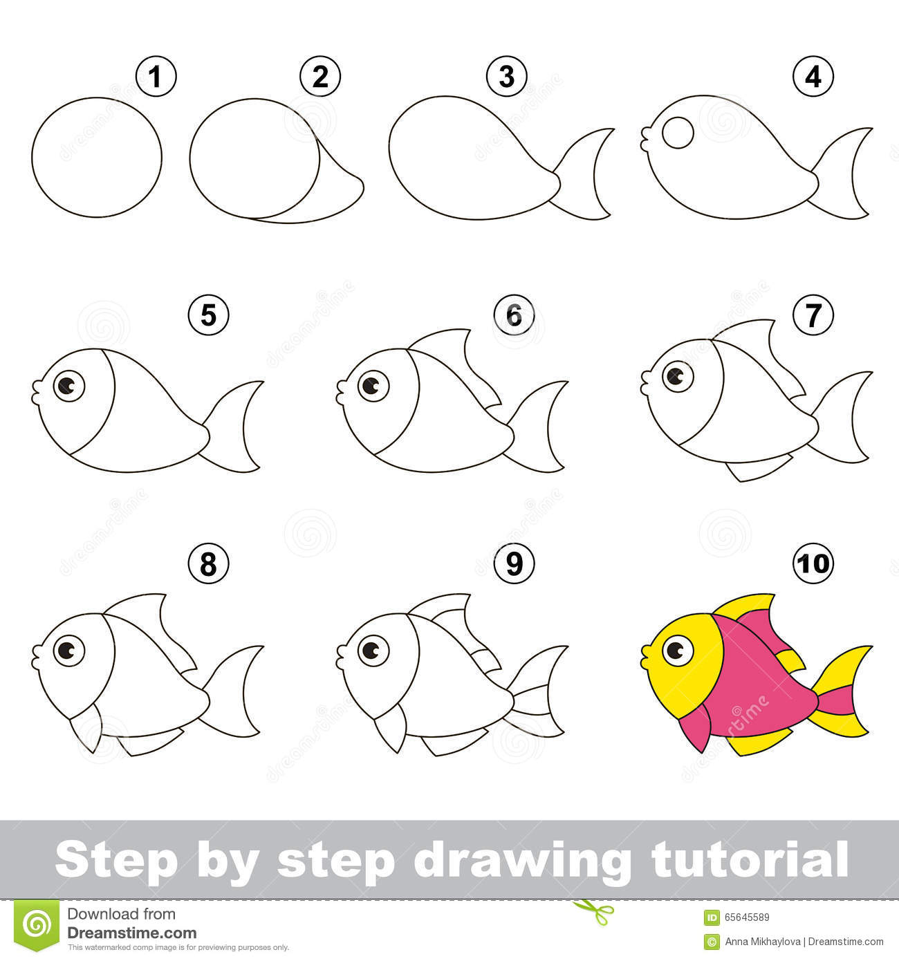 Funny Fish Step By Drawing Tutorial