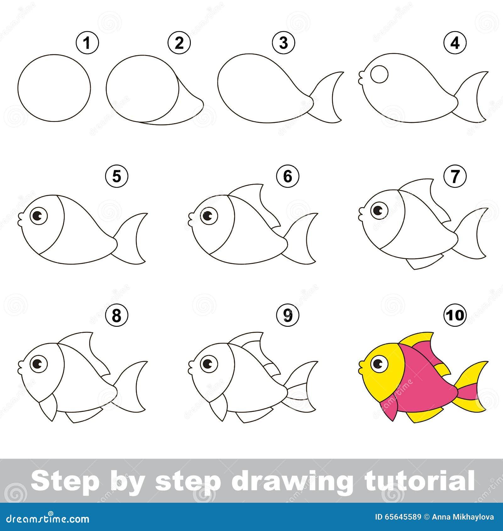 Funny Fish. Drawing Tutorial. Stock Vector - Illustration ...