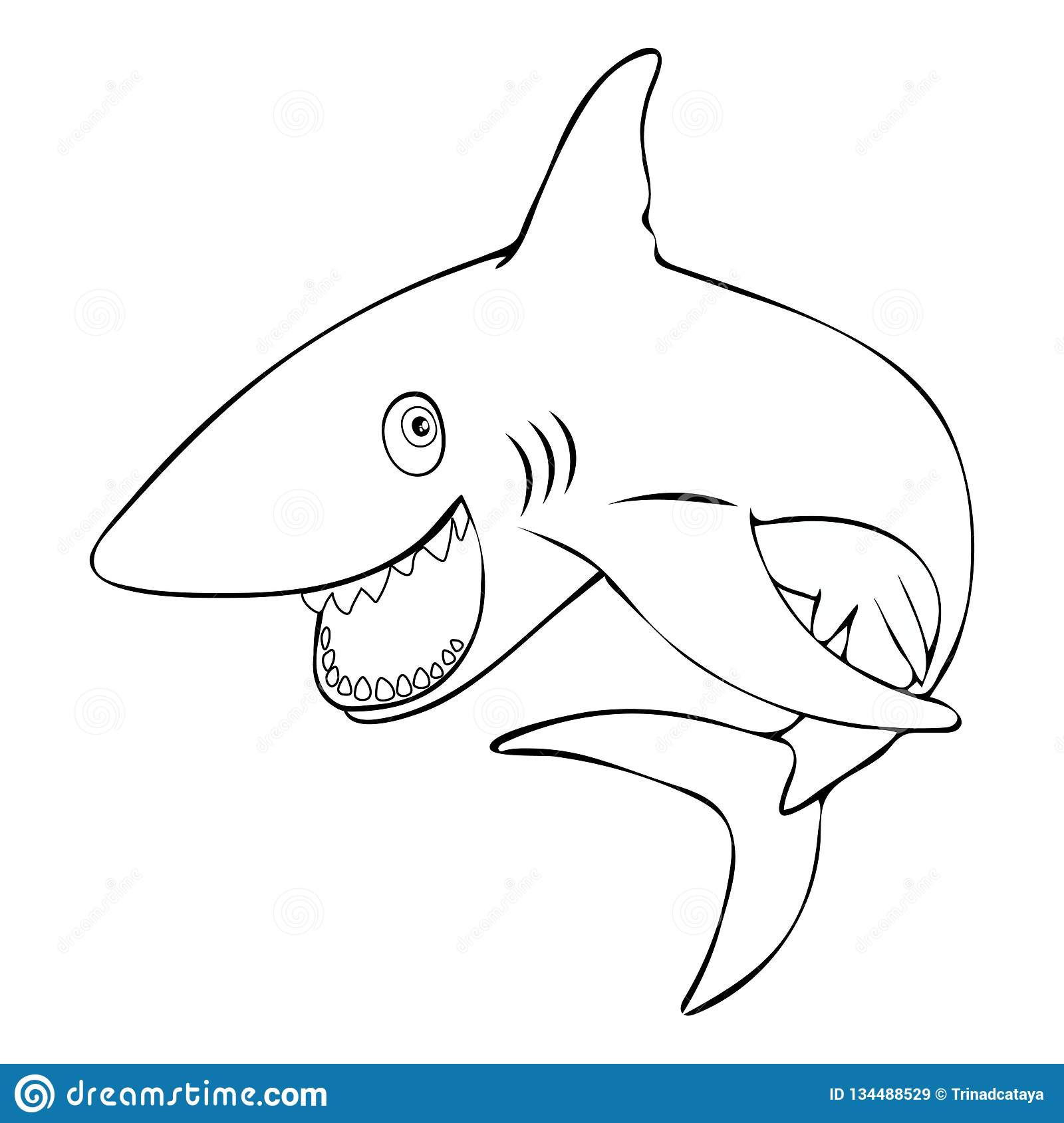 Funny Fish Shark Smiling Jumps Out Of The Water, Linear Hand
