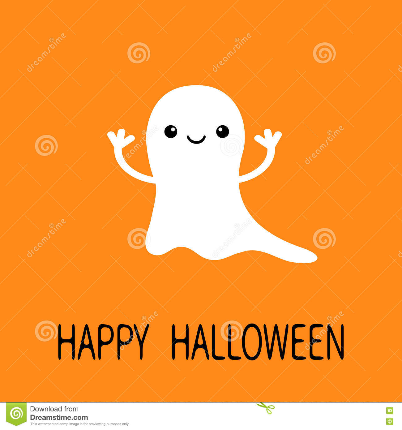funny flying baby ghost. smiling face. happy halloween. greeting