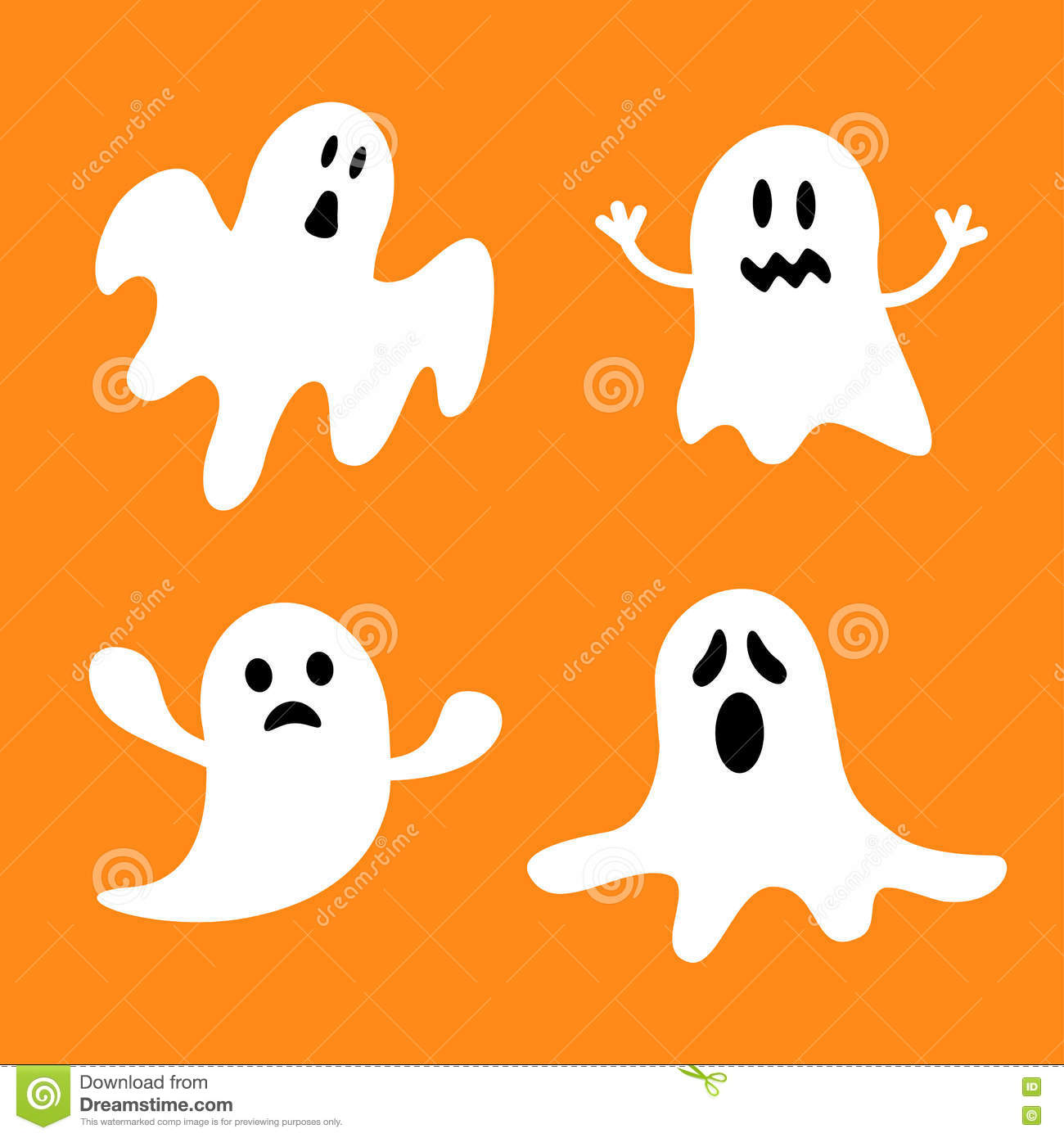 Funny Flying Ghost Set.Different Emotions Face. Happy Halloween ...