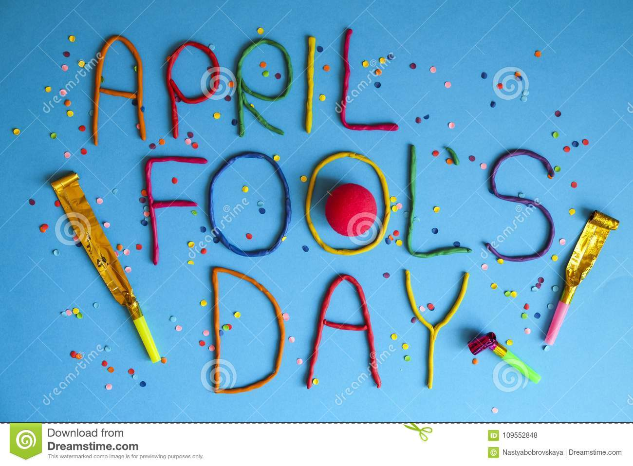 funny font first april fools day written in plastecine of different
