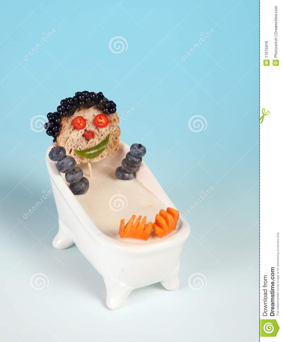 funny food face taking a bath in milk royalty free stock images image 11075919. Black Bedroom Furniture Sets. Home Design Ideas