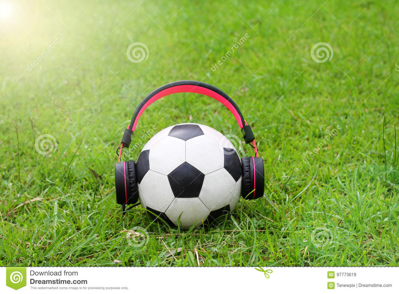 Funny Football Music On Green Grass Background Stock Image - Image