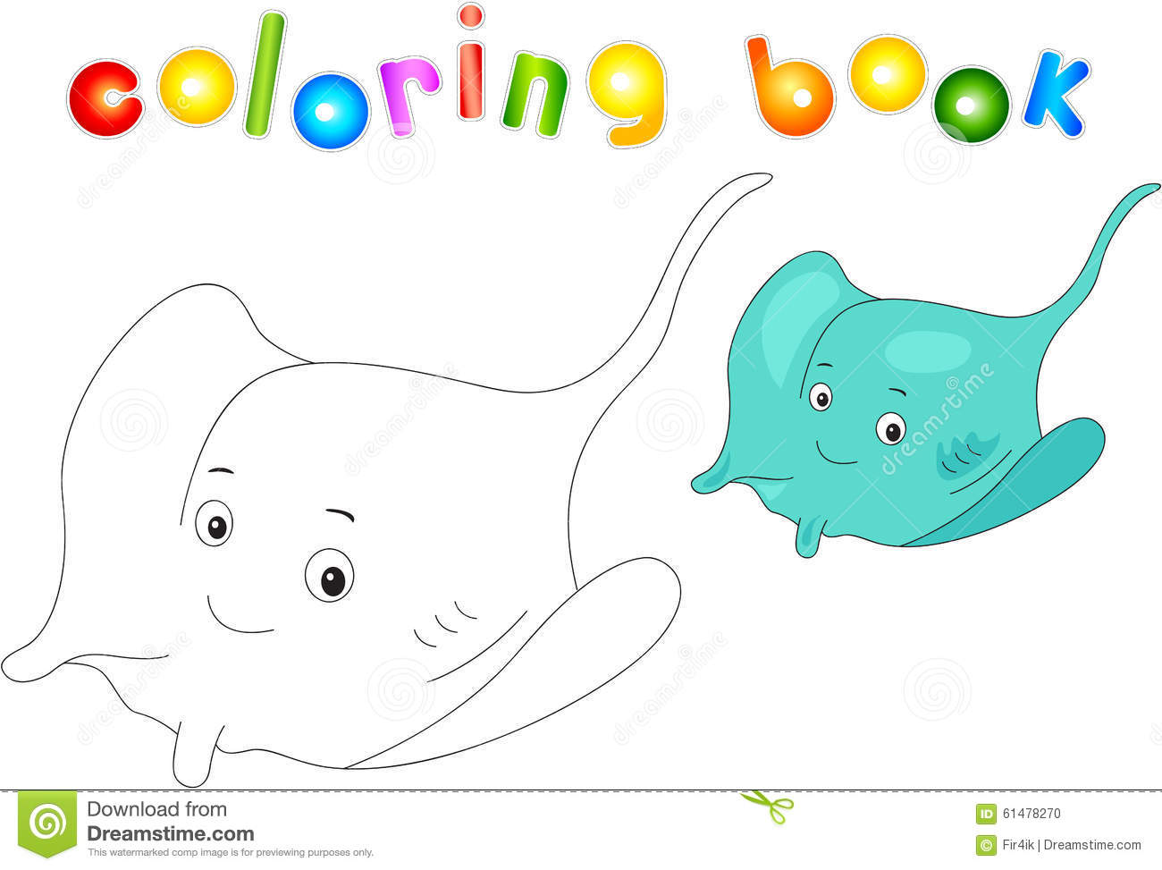 Funny And Friendly Cartoon Electric Stingray. Coloring Book Stock ...