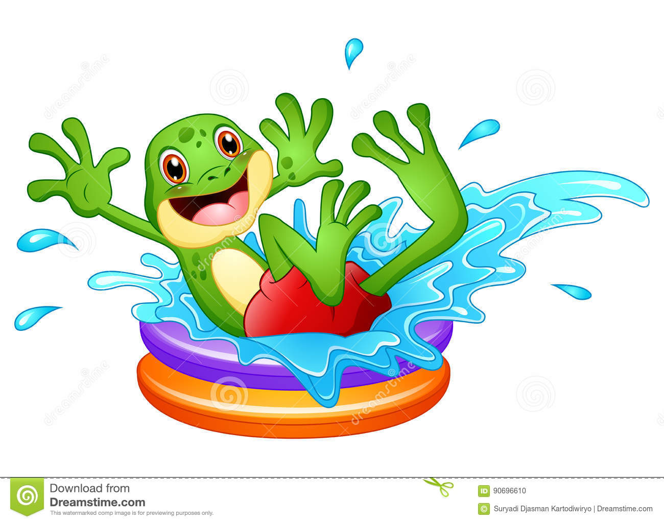pool splash animated. Funny Frog Cartoon Sitting Above Inflatable Pool With Water Splash Stock Photo Animated 9