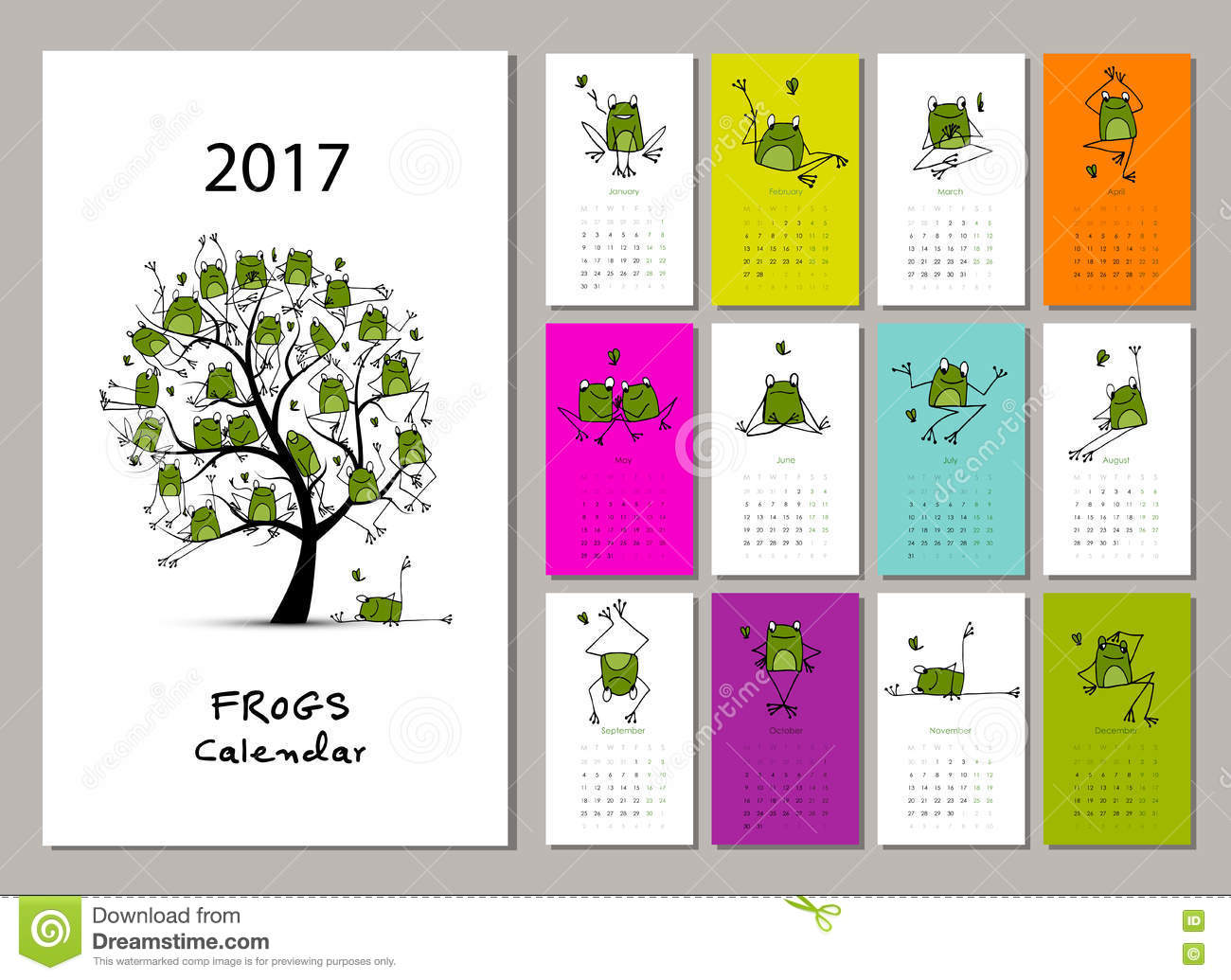 Illustration Calendar Design : Funny frogs calendar design stock vector image