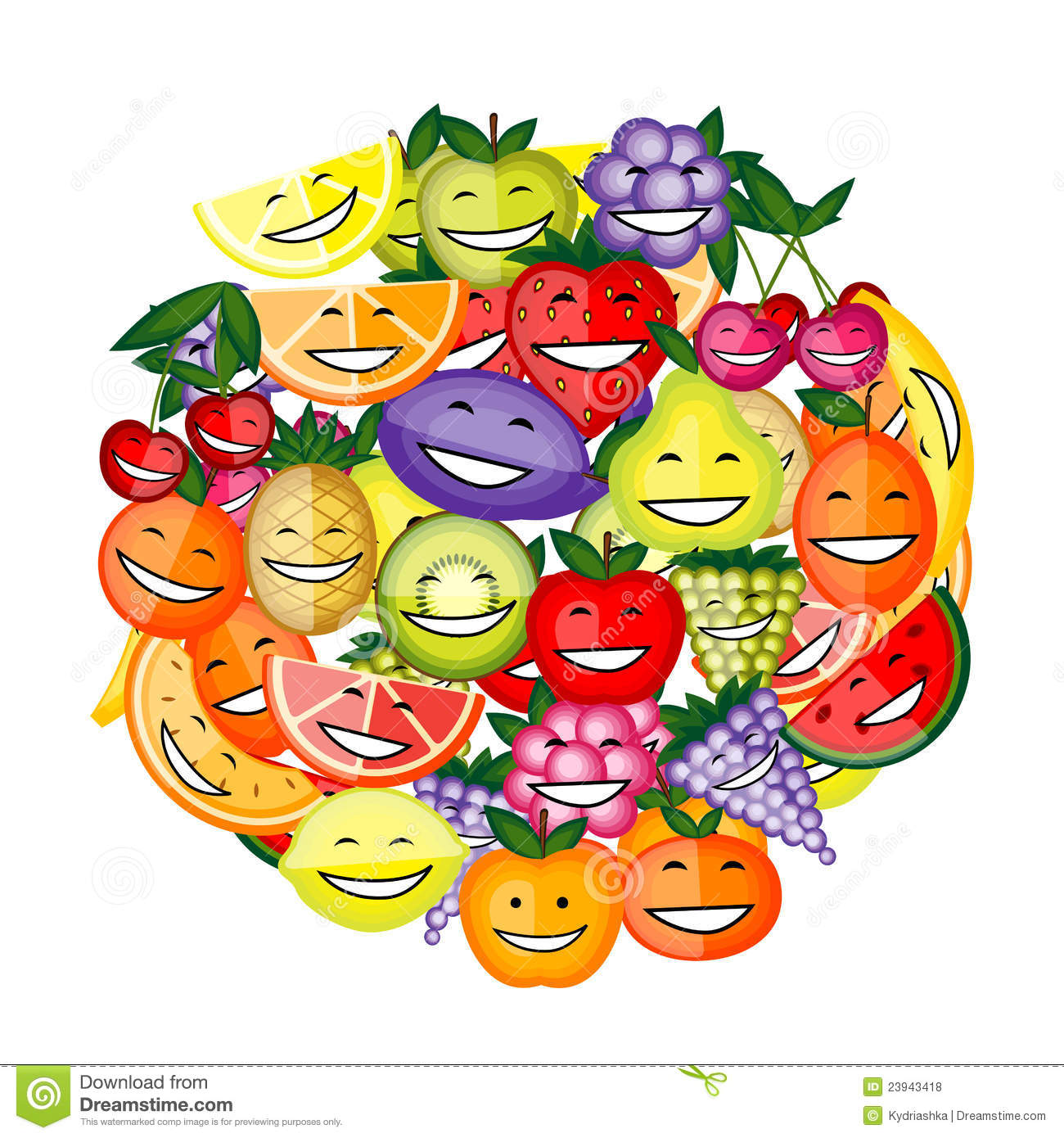 Cartoon Characters Mixed Together : Funny fruit characters smiling together royalty free stock