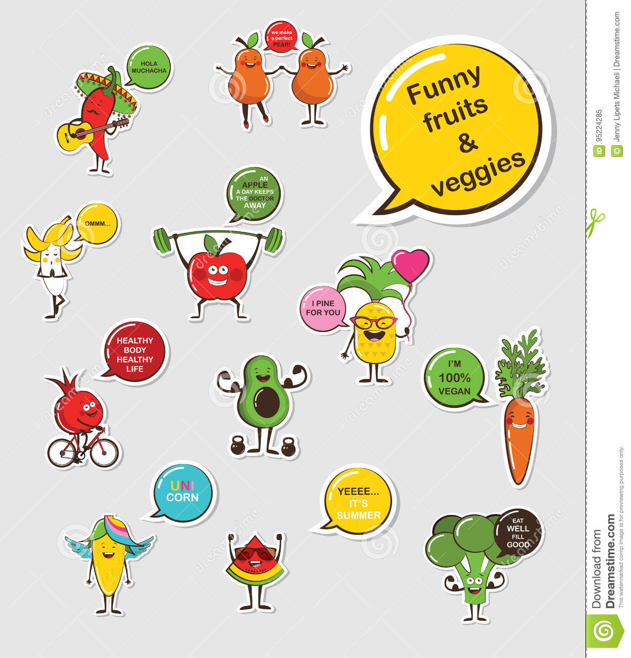 Funny Fruit And Vegetable Face Icon Vector Collection Cartoon Face
