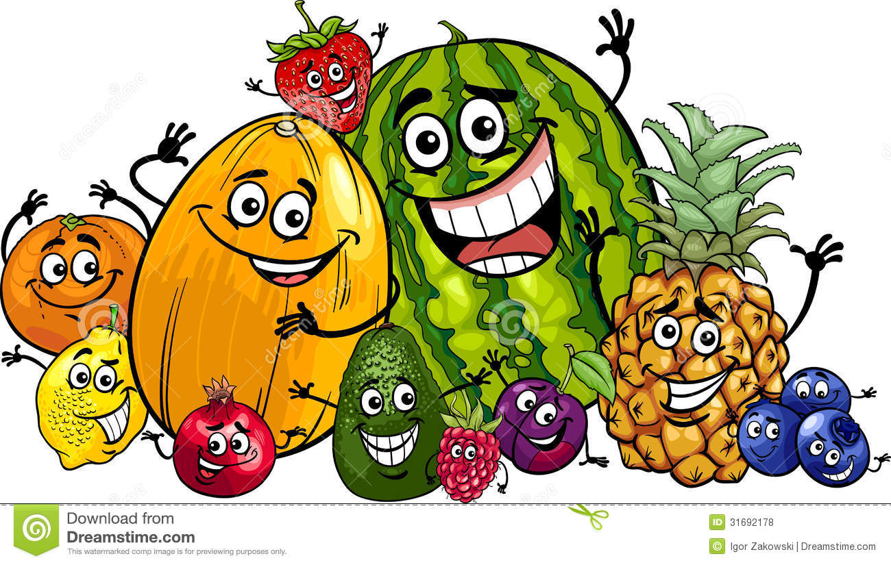 Funny Fruits Group Cartoon Illustration Royalty Free Stock