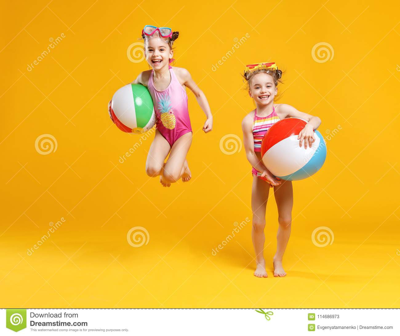 224639c25b Funny Funny Happy Children In Bathing Suits Jumping On Colored Stock ...