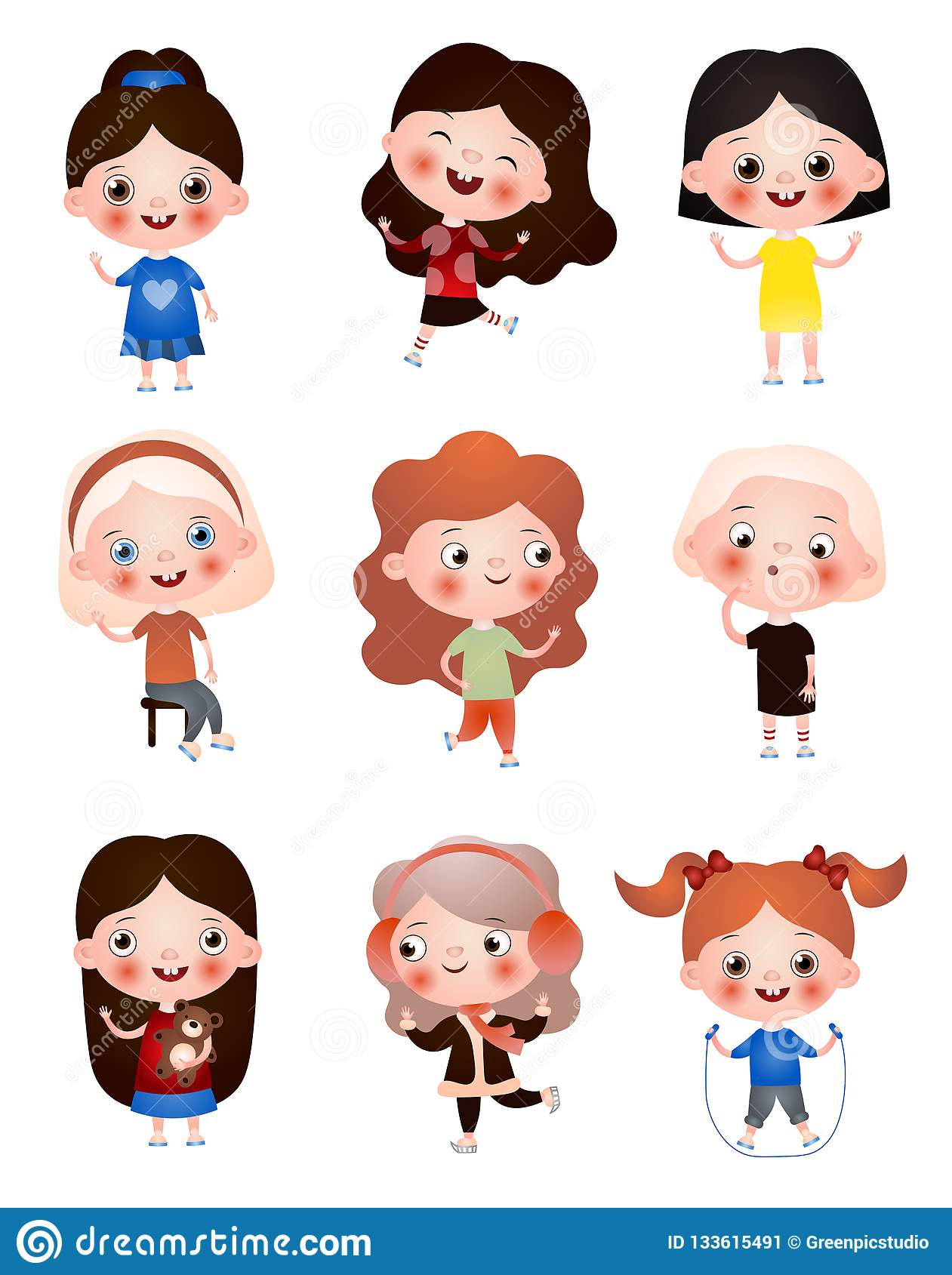 Funny Funny Kids With Different Hairstyles And Hair Color Children Spend Their Free Time Having Fun And Playing Stock Illustration Illustration Of Children Artistic 133615491
