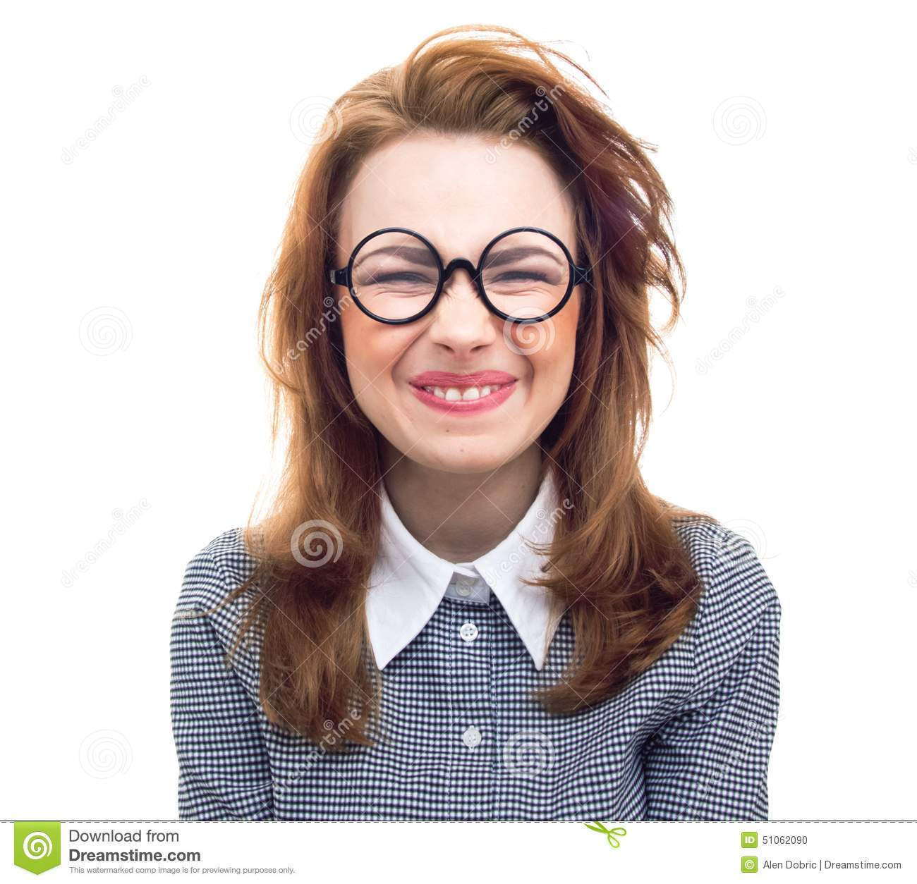 Funny Geek Or Loony Girl Showing Gritted Teeth Stock Photo - Image 51062090-9016