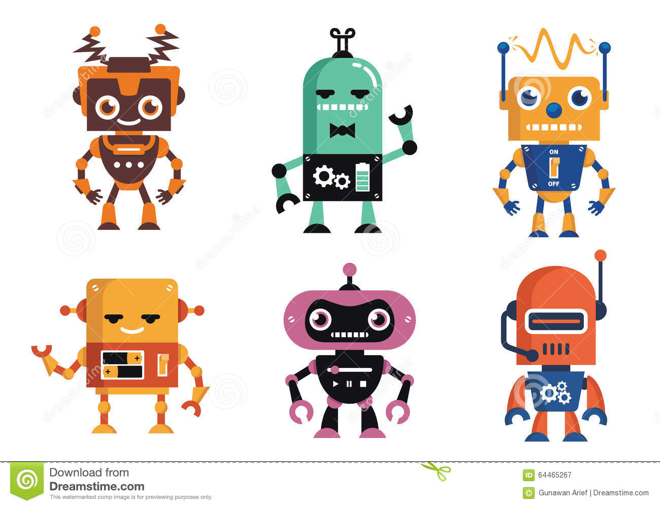 Character Design Icon : Funny geek robot character design stock vector