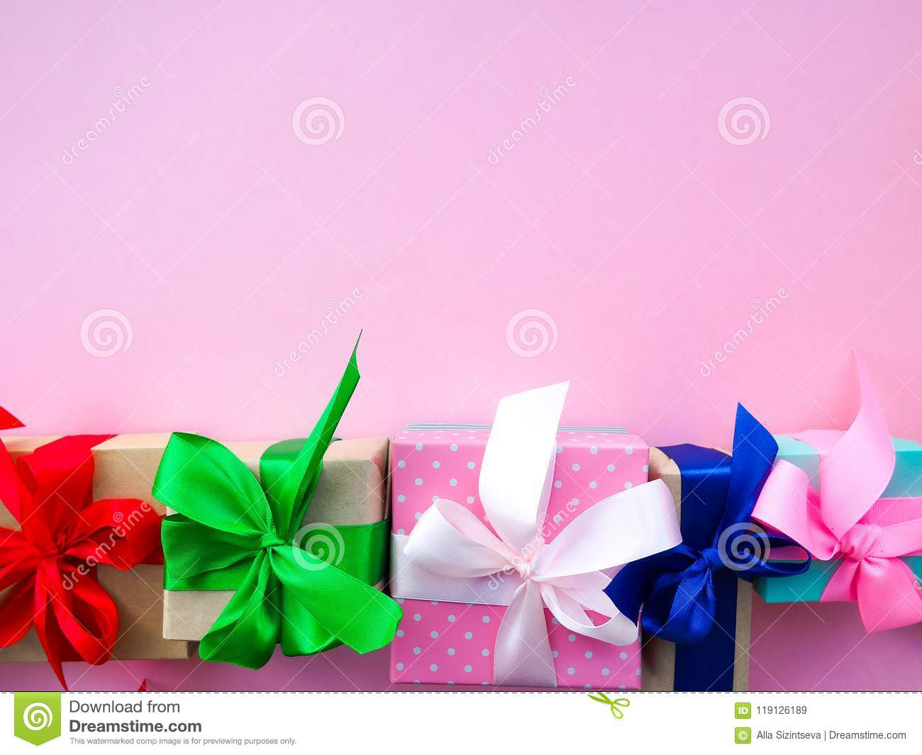 funny gift boxes on pink background the concept of gift for the holiday & Funny Gift Boxes On Pink Background The Concept Of Gift For The ...