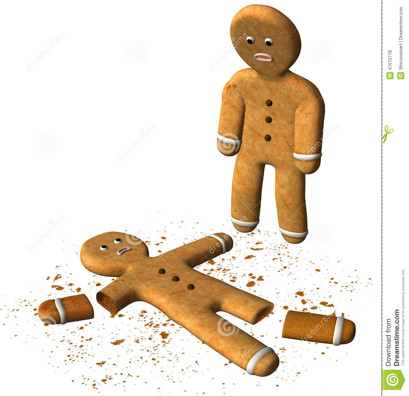 Funny Gingerbread Man Broken Cookie Isolated Stock Illustration ...