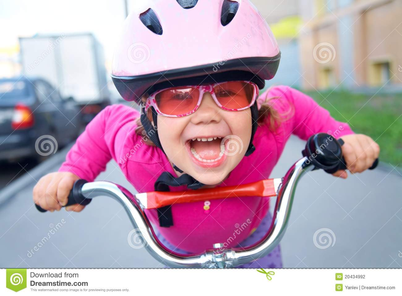Funny Girl And Bicycle Stock Photo Image Of Activity