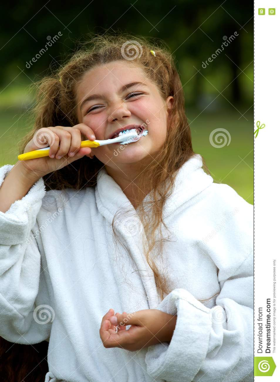 Funny Girl Brushing Teeth Stock Image Image Of