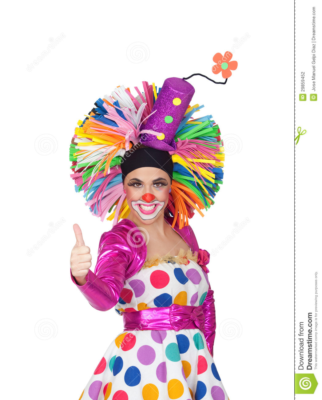 Funny Girl Clown With A Big Colorful Wig Saying Ok Stock ...