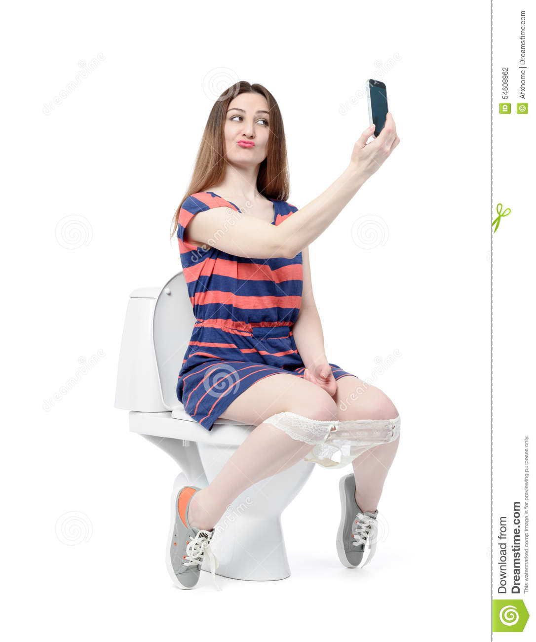 Girls Sitting On Toilet