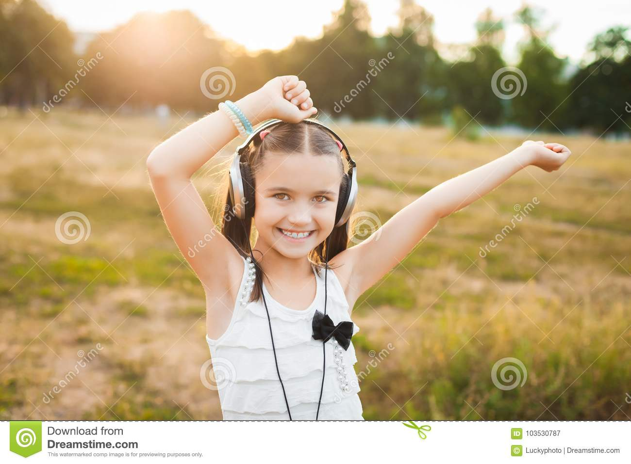 funny girl listening music and dancing stock image image