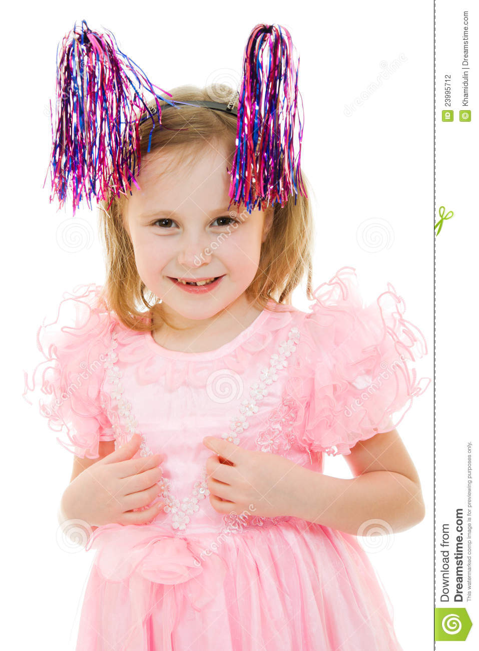 Funny Girl In A Pink Dress With Antennae Stock Photo ... - photo#10