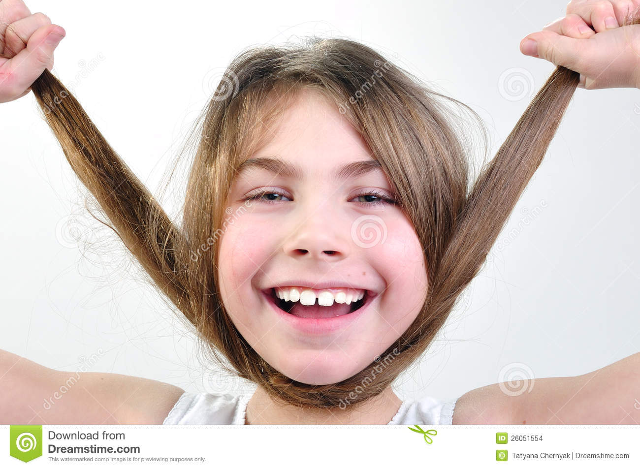 Funny Girl Playing With Her Hair Stock Photo Image Of Expression