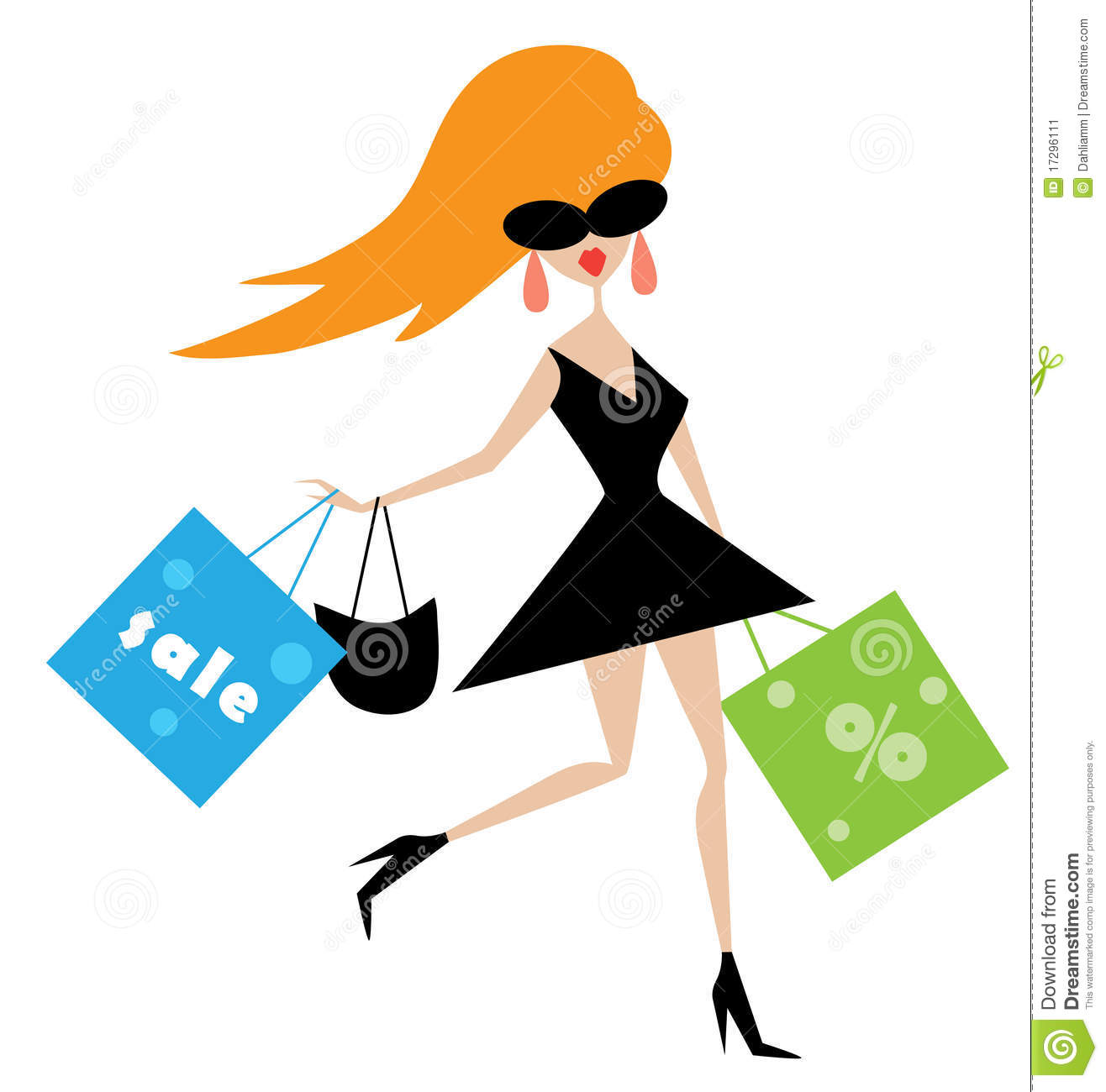 funny girl with shopping bags stock vector illustration of fashion