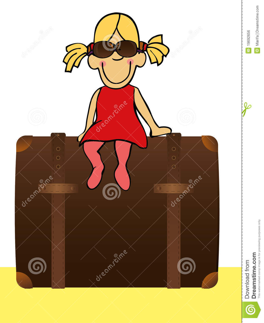 Funny Girl Sitting On The Suitcase Royalty Free Stock