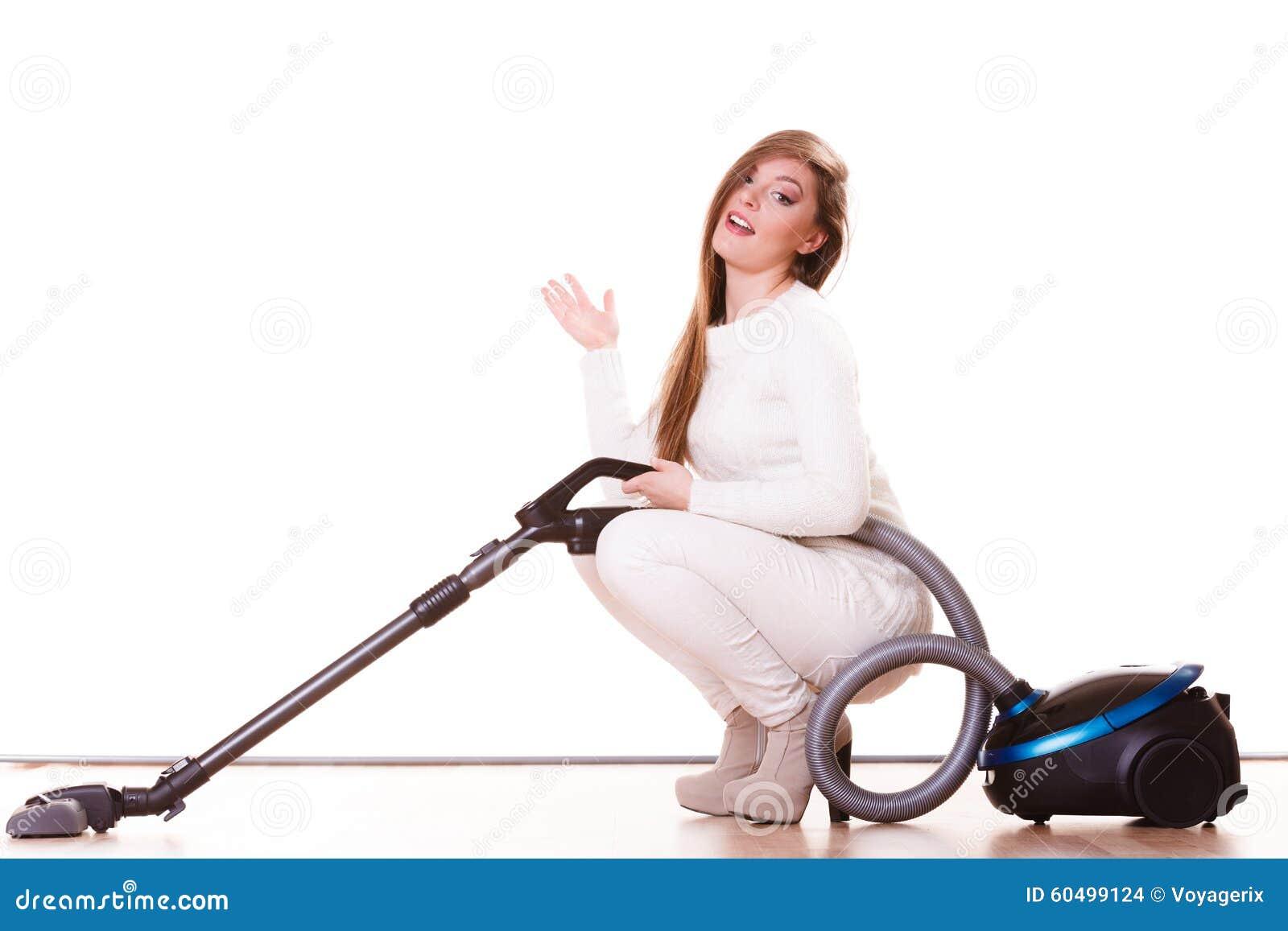 Vacuuming sexy woman
