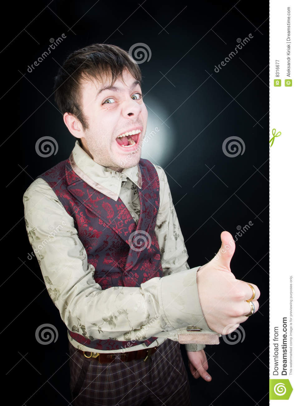 Funny giving man thumbs up